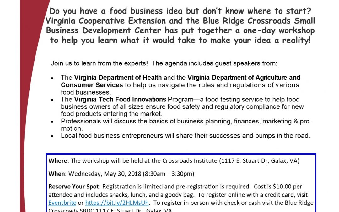 One-Day Food Business Workshop Offered in Galax on May 30